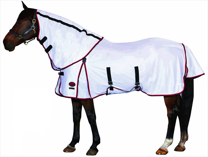 <b><i>WeatherBeeta Airflow Detach-A-Neck Fly Sheet - White/Red