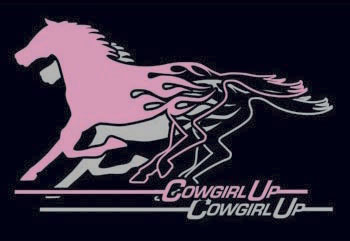 <b><i>Cowgirl Up Flame Horse Sticker</i></b>