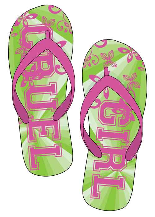 <b><i>Cruel Girl Pink and Green Flip Flops </i></b>