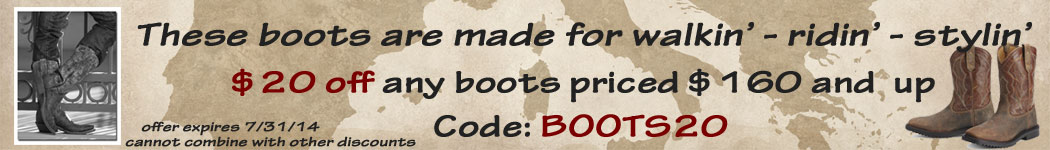 $20 off any boots priced $160 and up