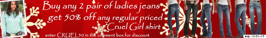 Buy any 2 pair jeans and get 1/2 off regular priced shirt ($50 or more)