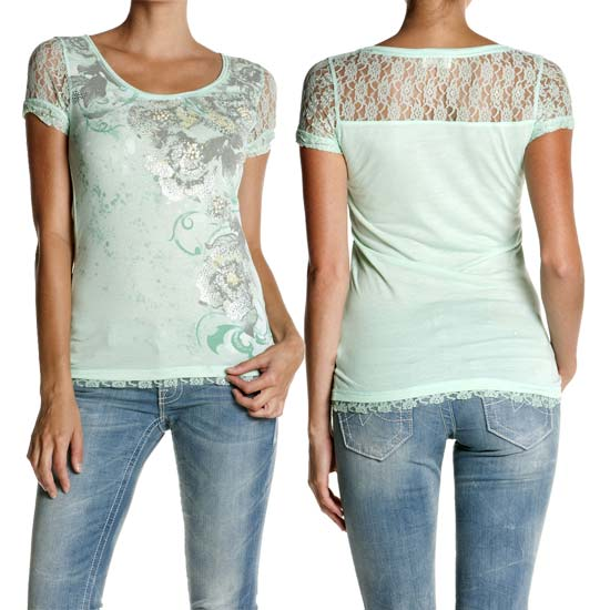 Miss Me Ladies Embellished Top With Lace