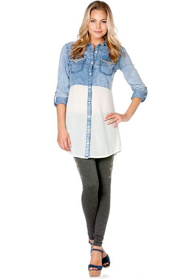 Miss Me Sheer Block Embroidered Chambray Tunic