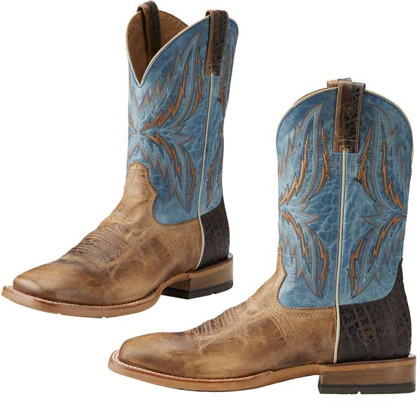 Men's Ariat Arena Rebound Cowboy Boot, Size: 13 EW, Dusted Wheat/Heritage Blue Full Grain Leather