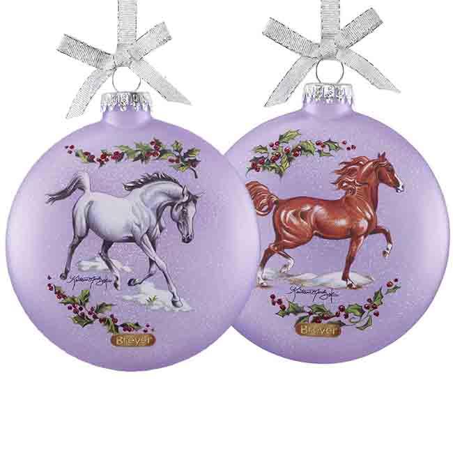 Breyer Arabian Horse Artist Signature Glass Holiday Ornament Double Sided