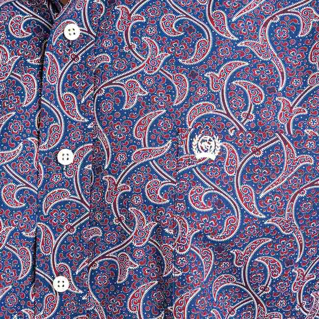 5c608342 Cinch Navy and Burgundy Paisley Button Down Shirt