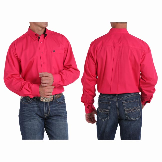 Cinch Mens Solid Button-Down Western Shirt Pink X-Large