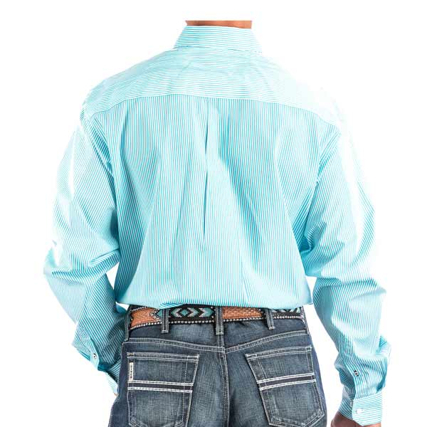 Cinch Mens Turquoise Striped Button Down Xl