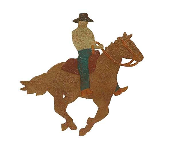 Running Horse And Cowboy Metal Wall Hanging