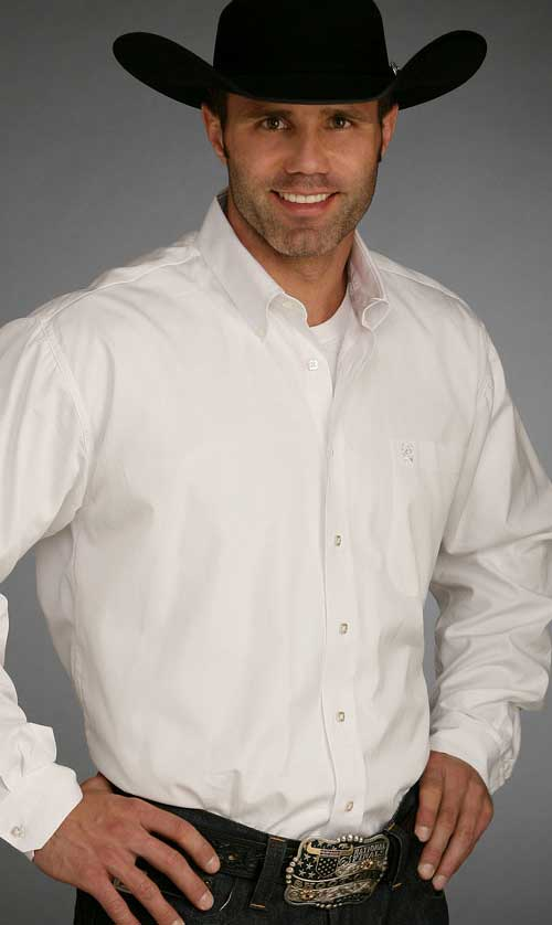Cinch pinpoint oxford long sleeve western shirt in white for Mens pinpoint dress shirts
