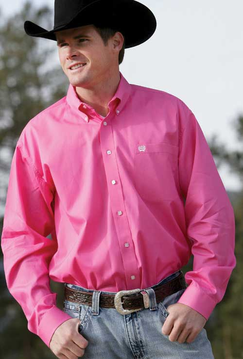 5981547d Cinch Men's Solid Pink Pinpoint Shirt
