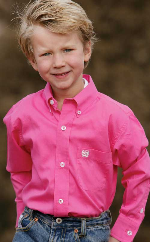Boy's Solid Pink Pinpoint Shirt