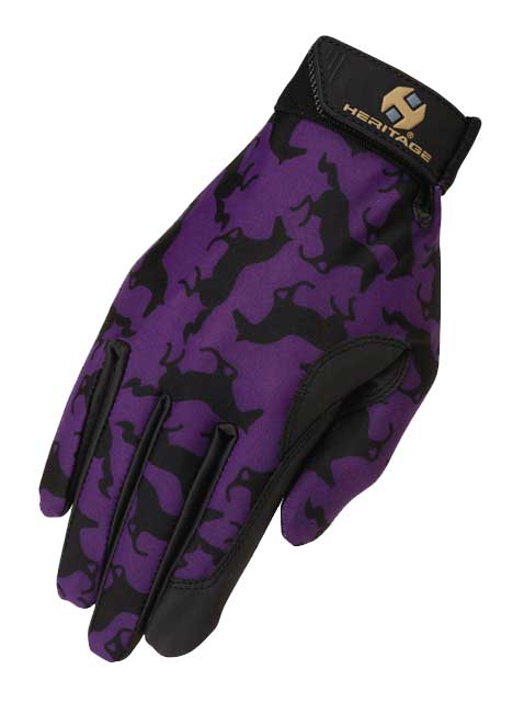 Heritage Performance Riding Gloves in Purple Gallop Print