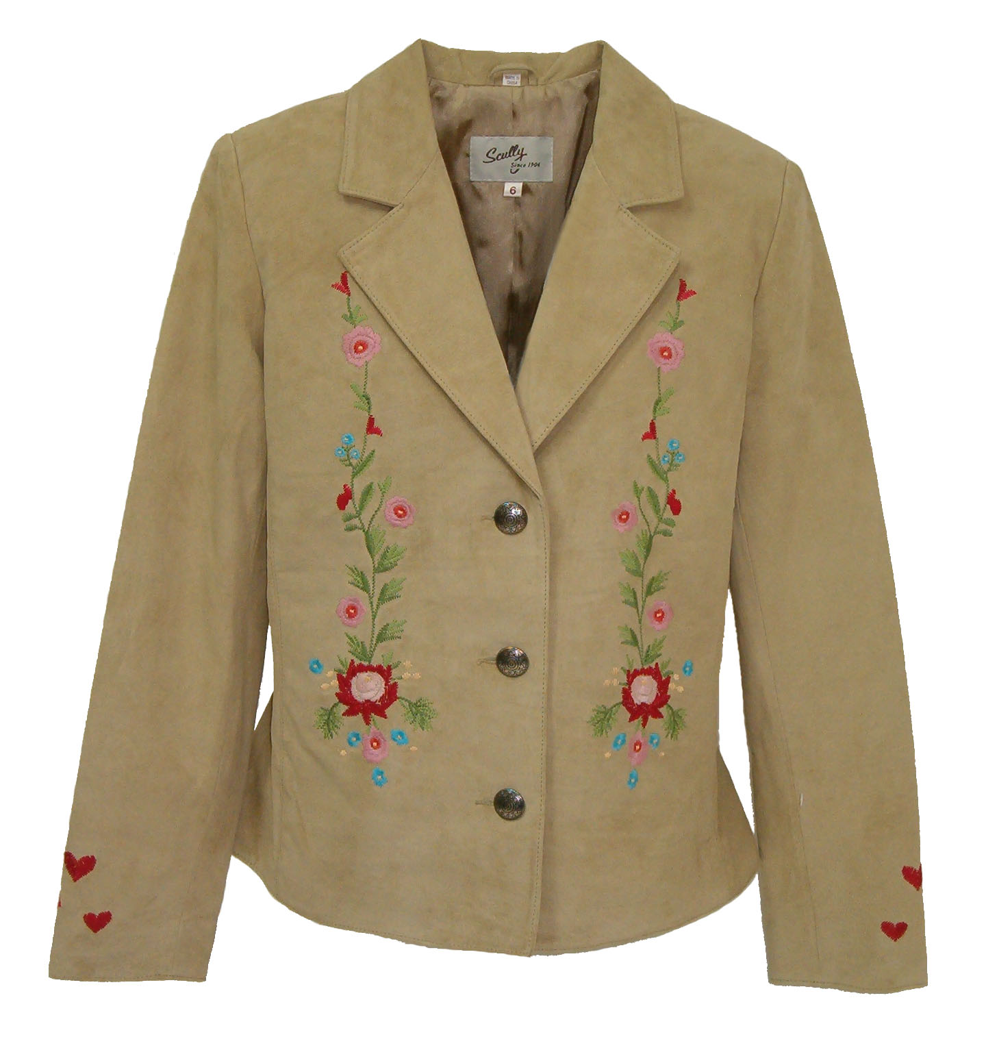 Scully leather embroidered love jacket