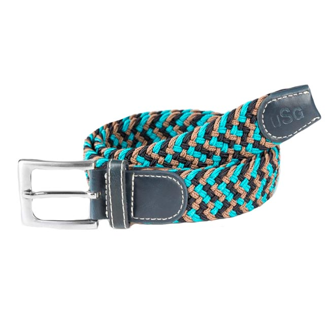 677bb8dd3aa36 USG Casual Belt in Turquoise/Navy/Brown