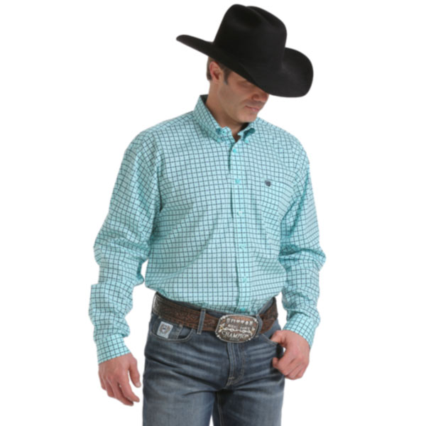 Cinch Western Shirt In Light Teal Checked Print