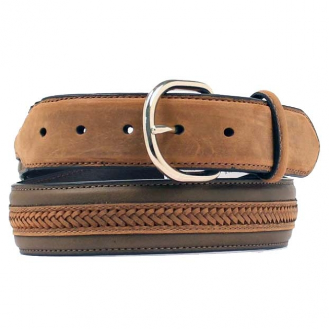 Nocona Men's Western Leather Center Laced Belt