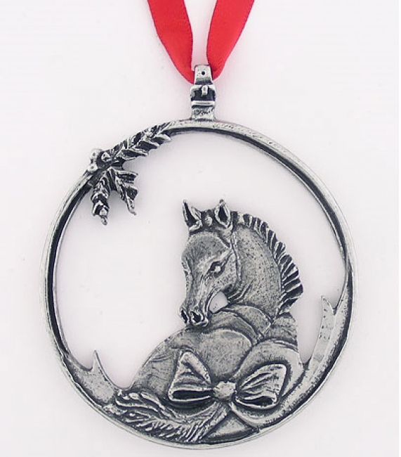 Loriece Foal With Bow Pewter Ornament