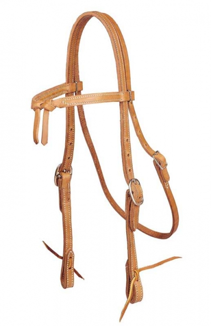 Tory Harness Leather Knotted Browband Headstall