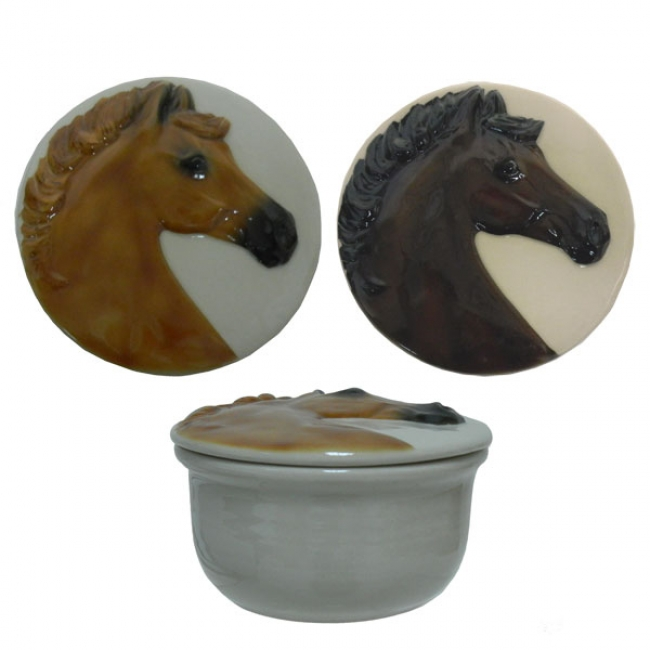 Horse Head Small Covered Dish