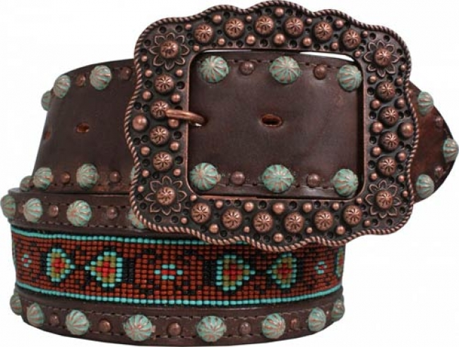 Double J Women's Brown Vintage Beaded Belt 34