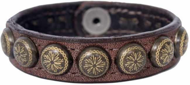 Double J Brown Er Cuff With Yellow Studs