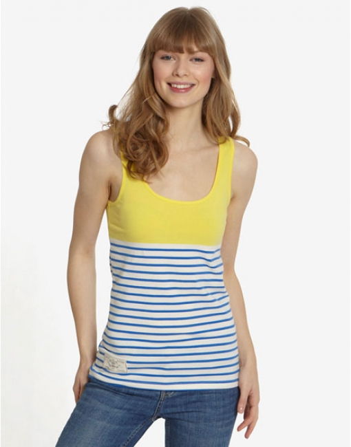 Joules Maria Striped Top in Yellow