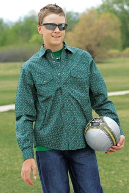 f817ec17a Cinch Long Sleeve Green Print Snap Shirt for Boys