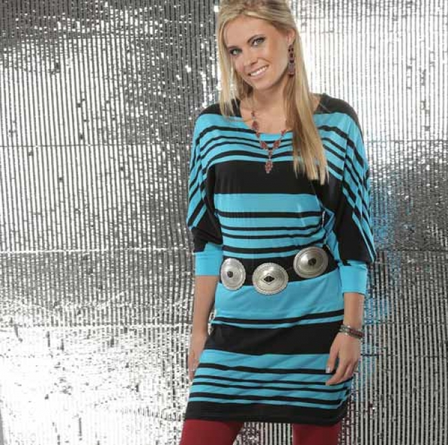Cruel Girl Blue and Black Striped Dress