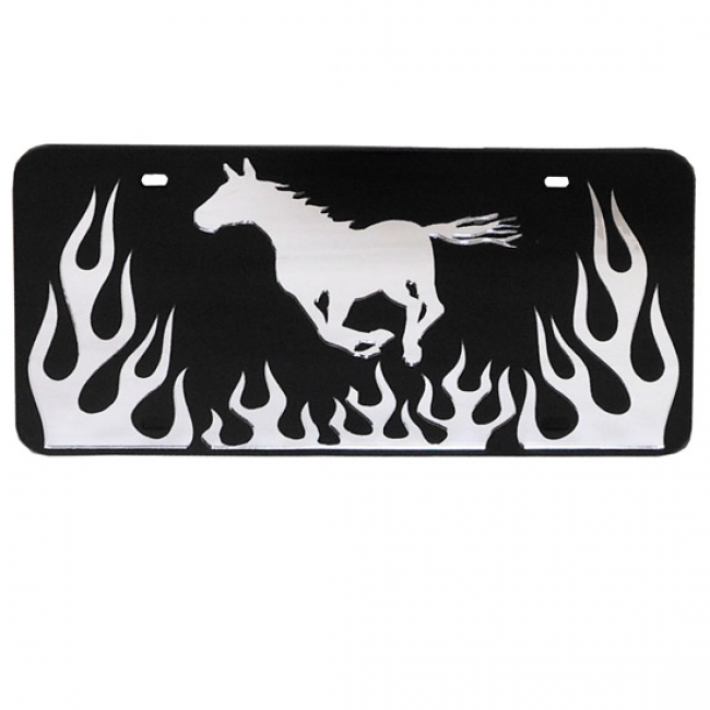 License Plate - Running Horse with Flames