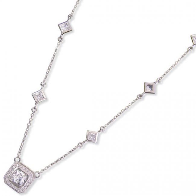 Kelly Herd Square Cubic Zirconia Station Necklace