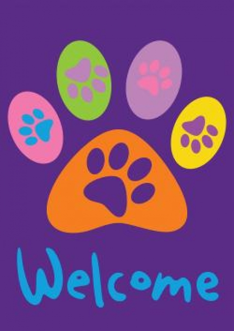 Paw Print Welcome House Flag