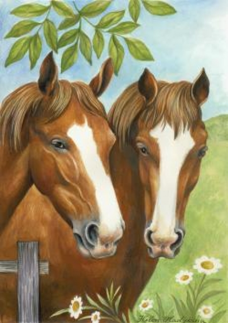 Garden Flag with Twin Horses