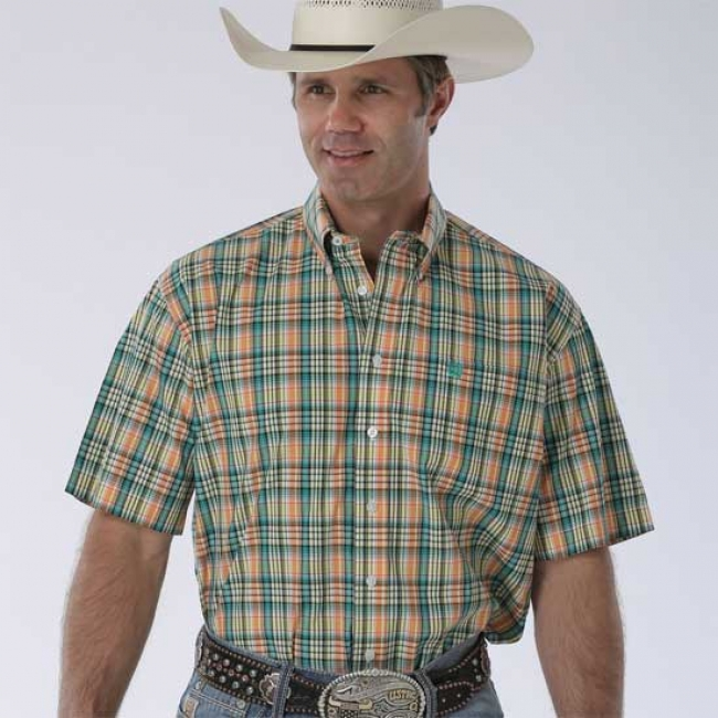 Cinch Short Sleeve Button Down in Green Plaid