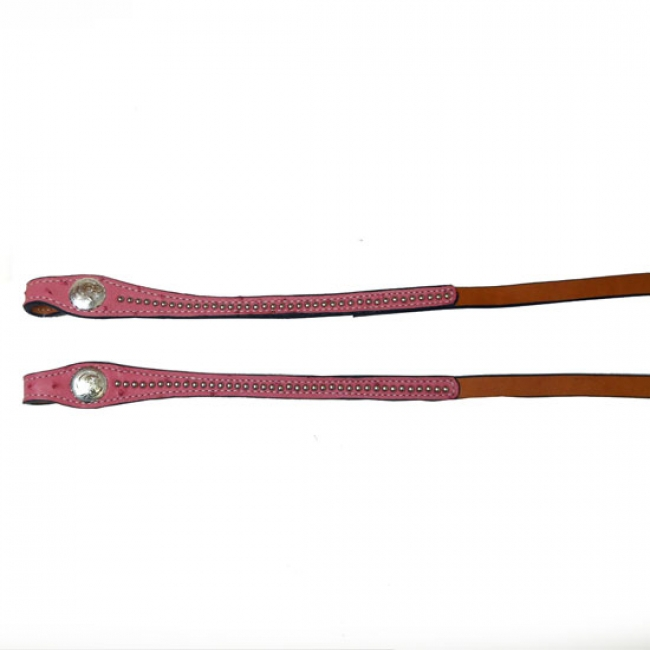 Tex Tan Pink Ostrich Leather Reins
