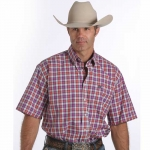 Cinch Plaid Button Down Short Sleeve Shirt for Men