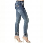 Miss Me Skinny Jeans Aztec Rolled Cuff