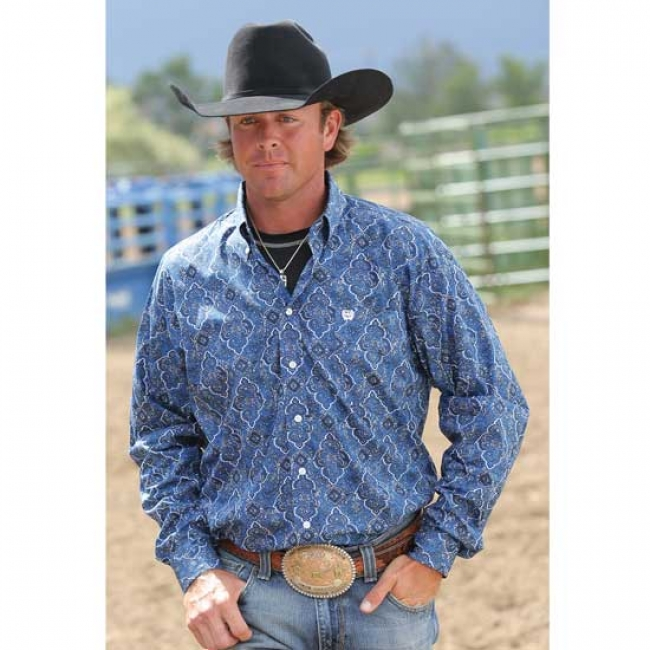 Cinch Royal Blue Patterned Western Shirt