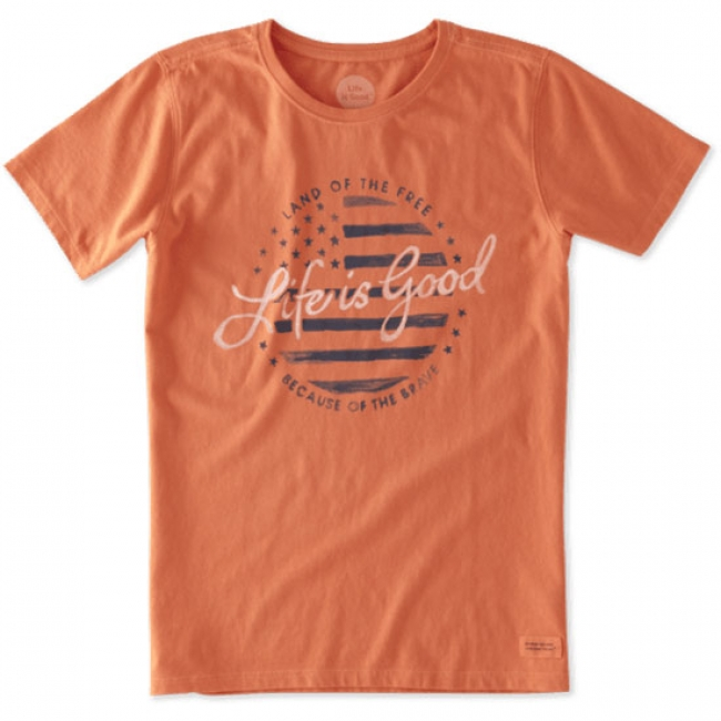 Life is Good Land of the Free Crusher Tee in Orange