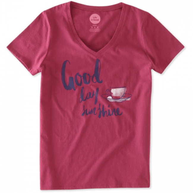 Life is Good Lightweight Good Day Tee in Rose Berry