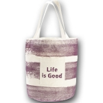Life is Good Tote Bag with Painted Stripes