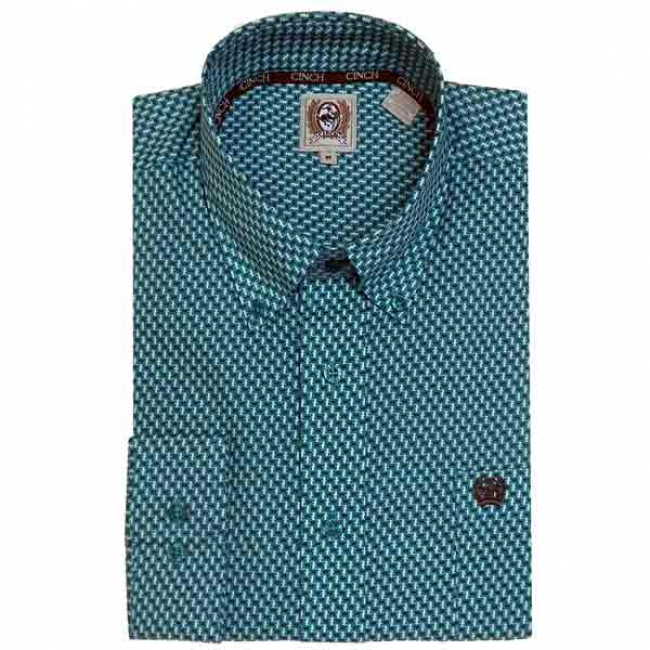Cinch Men's Teal Printed Shirt