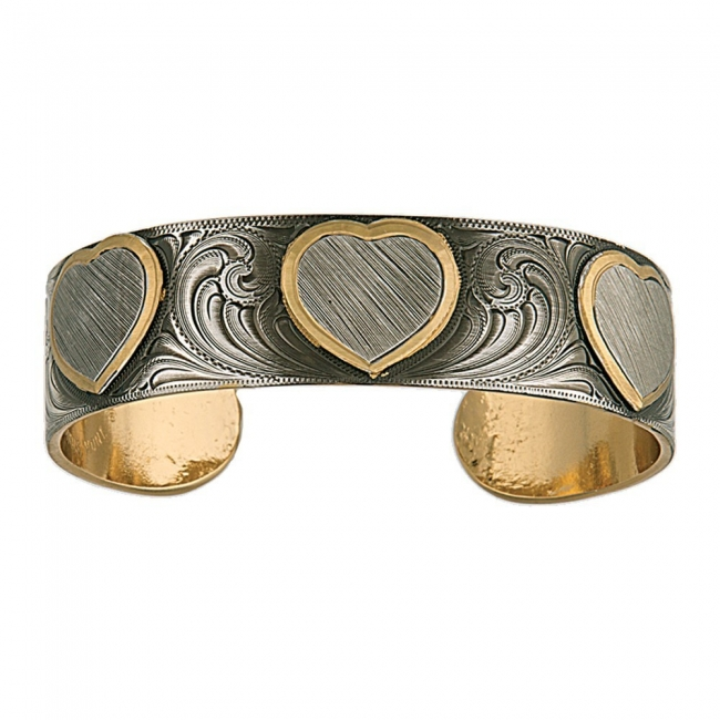 Montana Silversmith's Classics Love Etched Hearts Silver Cuff Bracelet