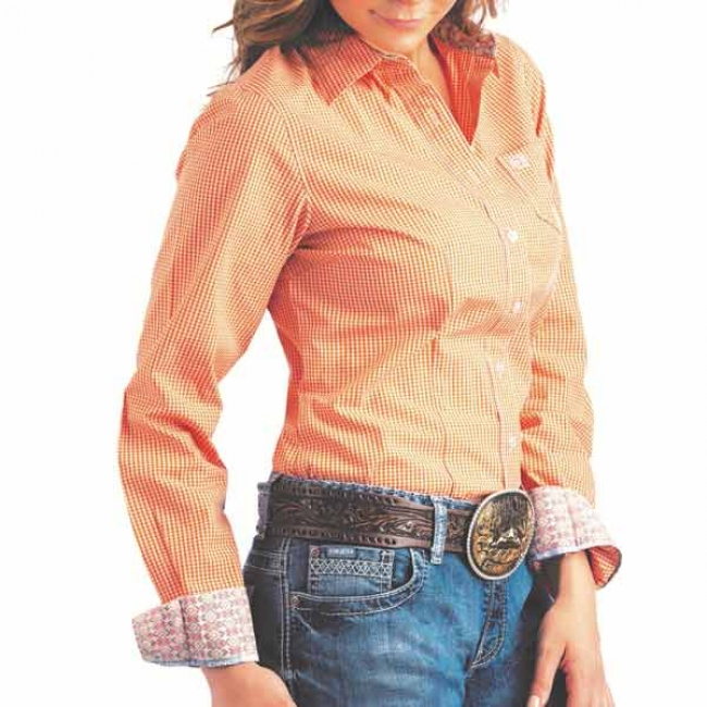 Cinch Women's Shirts -Orange Check Button Down