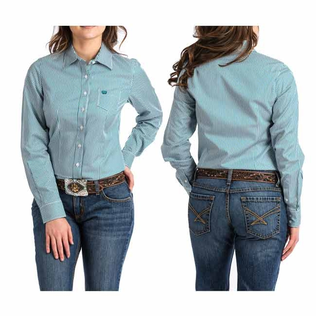 Cinch Ladies Teal Striped Button Down