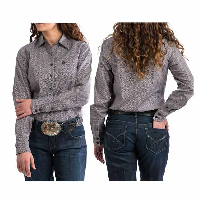 Cinch Womens Gray Patterned Button Down