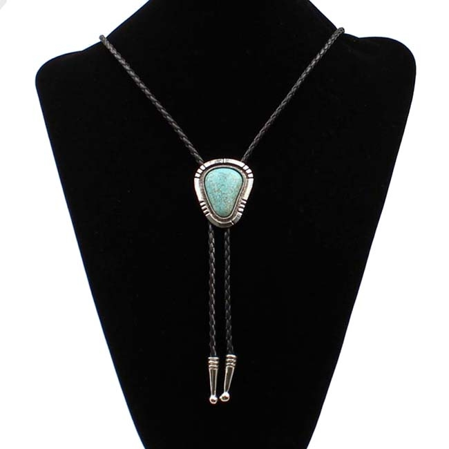 M&F Western Large Turquiose Stone Bolo Tie