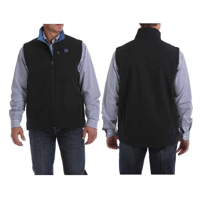 Cinch Men's Black with Blue Bonded Vest