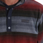 Cinch Men's Red Multi Printed Polar Fleece Pullover