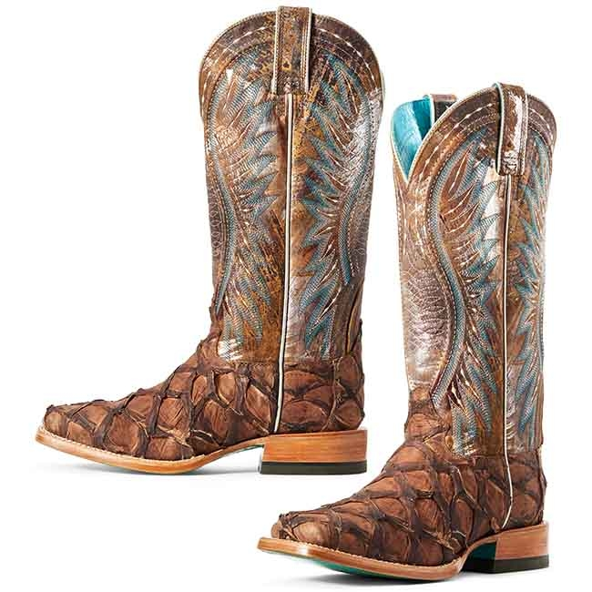Ariat Vaquera Exotic Café Big Bass Western Boots